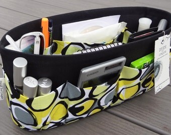 Purse ORGANIZER Insert SHAPER / Yellow Print On Black / STURDY / 5 Sizes Available / Check out my shop for more colors & styles