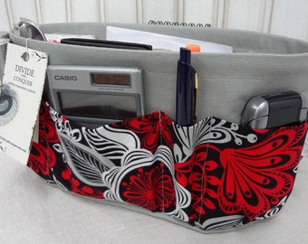 Purse ORGANIZER Insert SHAPER / Red Black Gray Floral On Gray / STURDY / 5 sizes Available / Check out my shop for more colors & styles