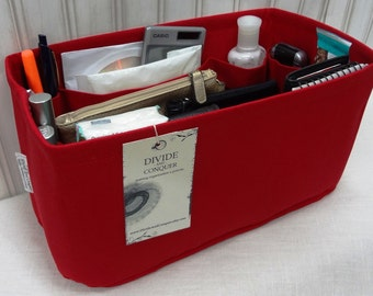 Fits LV Speedy 30 / Ready to Ship / Purse insert ORGANIZER Shaper / 11 x 6 rectangular / Sturdy / RED / With stiff wipe-clean bottom