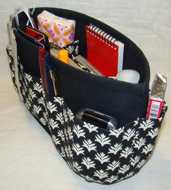 Purse organizer insert with ENCLOSED BOTTOM / Aloe Black / Extra STURDY / Available in 5 sizes / Lots of pockets to keep all of your items organized / change purses in a flash / Check out my shop for more styles, sizes and colors