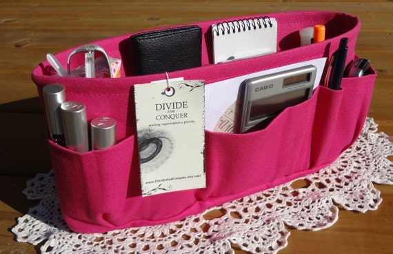 Fuchsia / Purse ORGANIZER insert SHAPER / STURDY / 5 Sizes Available / Bag Organizer / Check out my shop for more variety