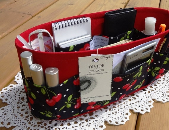 Purse insert ORGANIZER SHAPER / Bag Organizer / Cherries / STURDY / 5 Sizes Available / Check out my shop for more variety