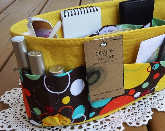 Purse ORGANIZER insert SHAPER / Multi Colored Circles / Extra STURDY / 5 Sizes Available / Check out my shop for more variety
