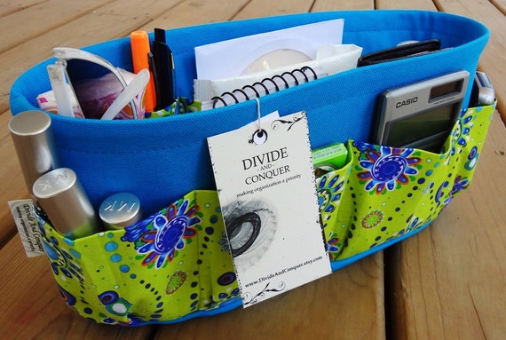 Purse ORGANIZER insert SHAPER / Turquoise & Lime / Extra STURDY / 5 Sizes Available / Check out my shop for more variety