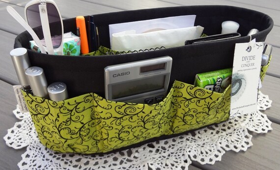 Purse ORGANIZER Insert SHAPER / Green With Black Vine / STURDY / 5 Sizes Available / Check out my shop for more colors & styles
