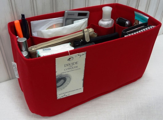 "Purse Insert ORGANIZER Shaper / 11"" x 6"" / With Reinforced Stiff Bottom / Red / Fits Louis Vuitton Speedy 30 / READY to SHIP"