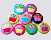 Cupcake Sewing Button - 2 inch Handmade, Fabric Covered  Cupcake Button - 9 pcs