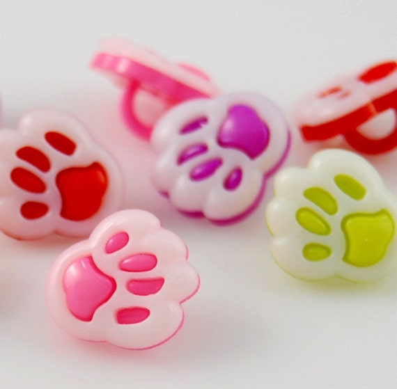 Assorted Paw Print Buttons - 10pcs - plastic button w/ shank - red, pink, orange, green, purple