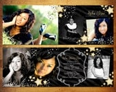 6 Panel Accordian Card Pano Trifold PSD Template - Stars Graduation