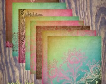"Girlie Love Digital Scrapbook Paper Pack (12x12""-300 dpi) - 8 Digital papers"