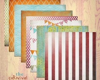 "Carnival Digital Scrapbook Paper Pack (12x12""-300 dpi) - 8 Digital papers"