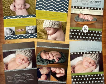 Baby Birth Announcement - PSD Template Set - LIAM & LILLIAN