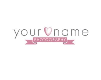 Photography Logo & Watermark - Pre-made for Photographer - Heart Banner