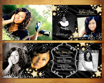8 Panel Accordian Card Pano Trifold PSD Template - Stars Graduation