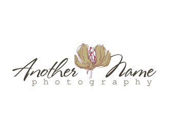 Photography Logo & Watermark - Pre-made for Photographer - Tan Flower