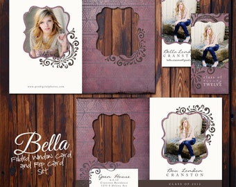 Graduation Announcement - PSD Template Set - 5x7 Folded Window Card and Rep Card - Bella