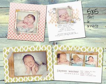 Birth Announcement Set - 4 Cards - 8 PSDs - Ohhh Baby