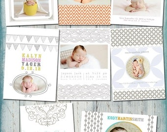 Millers Letterpress - Baby Birth Announcement - PSD Template Set
