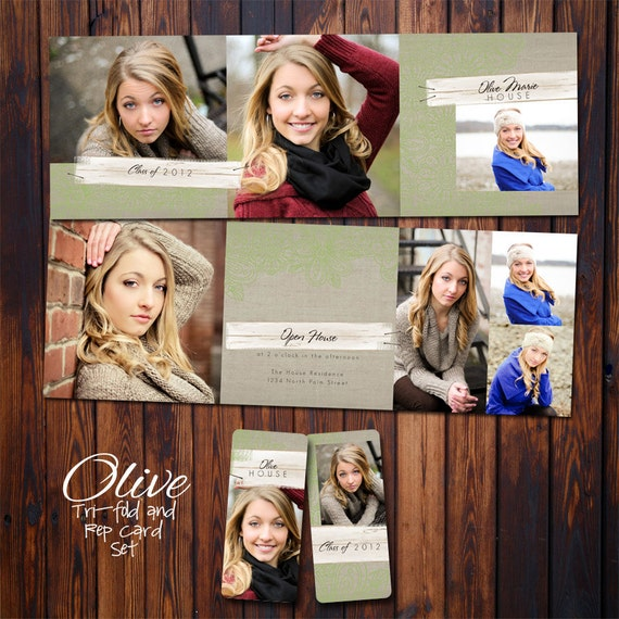 Graduation Announcement - PSD Template Set - Tri-fold and Rep Card - Olive