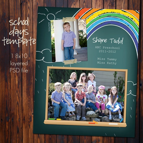School Class Photo Template - 8x10 Photoshop File