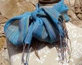 Linen Scarf- Handwoven Multicolor & Cyan Blue