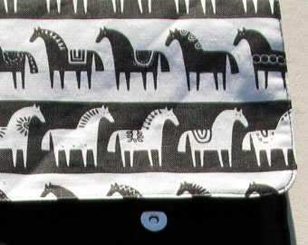 Linen Laptop sleeve- Swedish Horses- fits for 15  inches Macbook or other brand 15 lap tops