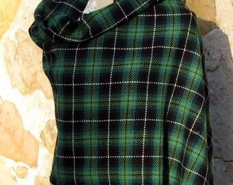 Handwoven Wool Tartan Scarf (Wrap) - Greens, Black, White, warm wool scarf,  checked black shawl, Plaid Blanket Scarf,  blanket scarf