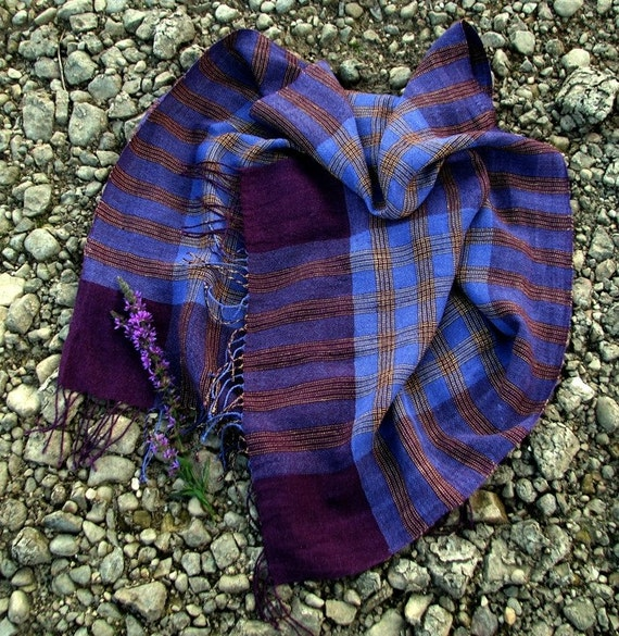 Handwoven Linen Flax Scarf (Shawl)- Purple Chess