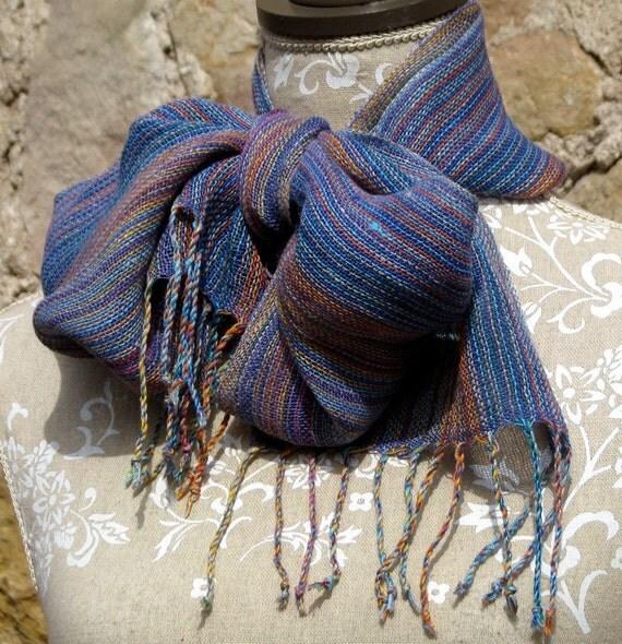 Linen Scarf-  Handwoven Multicolor & Violet