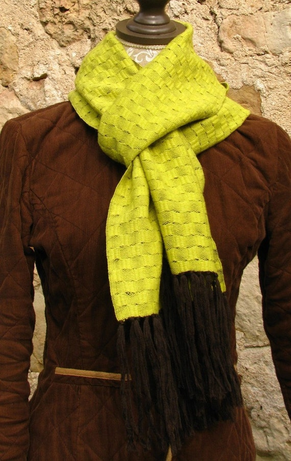 Pure Wool Scarf Handwoven- Soft And Simple- Lime Green