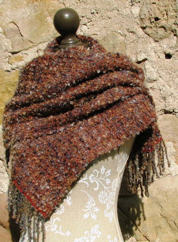 Mohair Loop Shawl- Autumn Leaves and Fogg- Rusty Gray