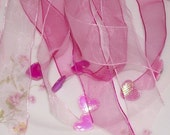 Pink and White Streamer Ponytail Holders