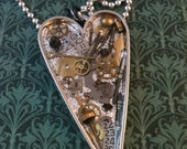 Clockwork Clutter Silver Heart Steampunk Necklace