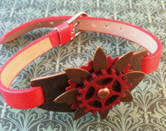 Red and Brown Brass Steampunk Bracelet