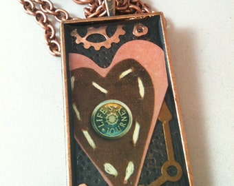 Copper Heart and Gear Steampunk Necklace
