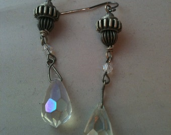 Antiqued Silver Bead and Gear with Crystal Steampunk Earrings