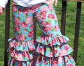 Custom Red, Pink, and Sky Blue Floral Ruffled Pants for girls in Size 3, 4, 5