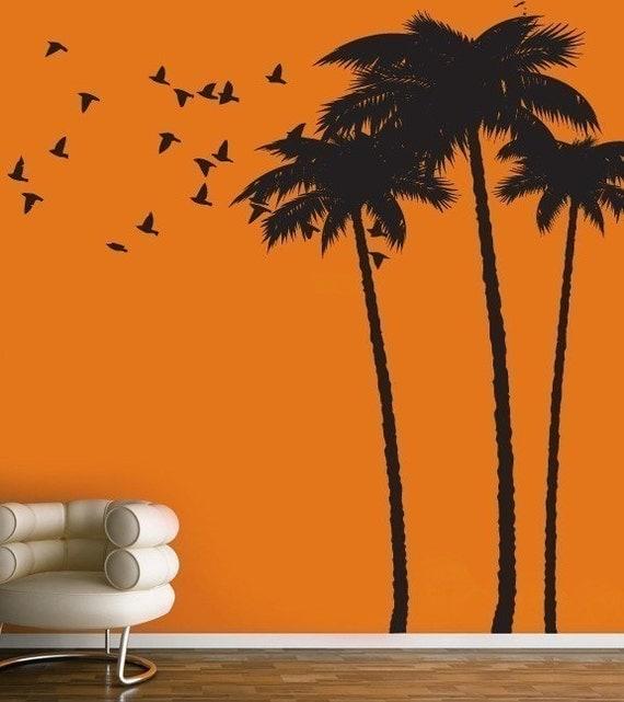 vinyl wall sticker decal art palm tree by urbanwalls on etsy. Black Bedroom Furniture Sets. Home Design Ideas