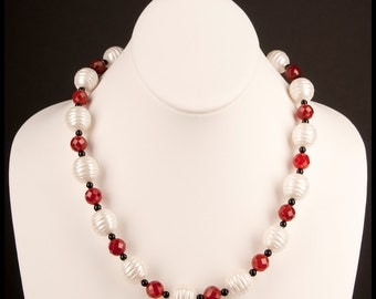 Freshwater Pearl, Carnelian, and Black Onyx Statement Necklace and Earrings Duet