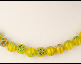 Sunshine Yellow Millefiori Necklace