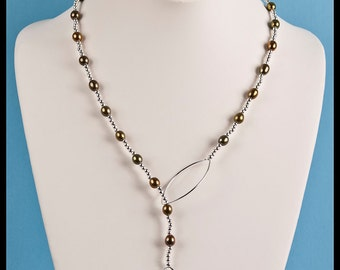 Olive Colored Freshwater Pearl Station Lariat