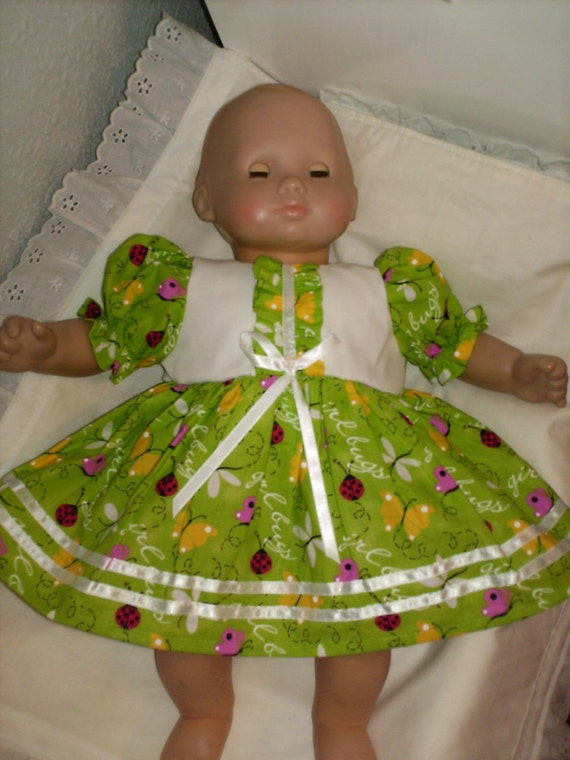 15 16 inch Bitty Baby Doll Butterfly Ladybug Girl Bugs Dress with Panties fits American Girl Bitty Baby