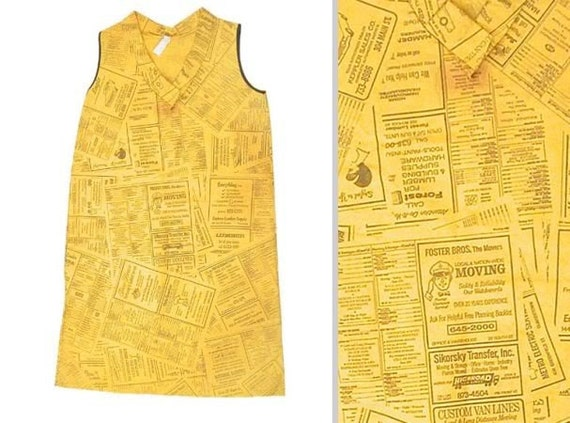 Reserved for Adam - Vintage Paper Dress - Yellow Pages Dress - Disposable Dress - Rare Pop Art by Waste Basket Boutique 1966