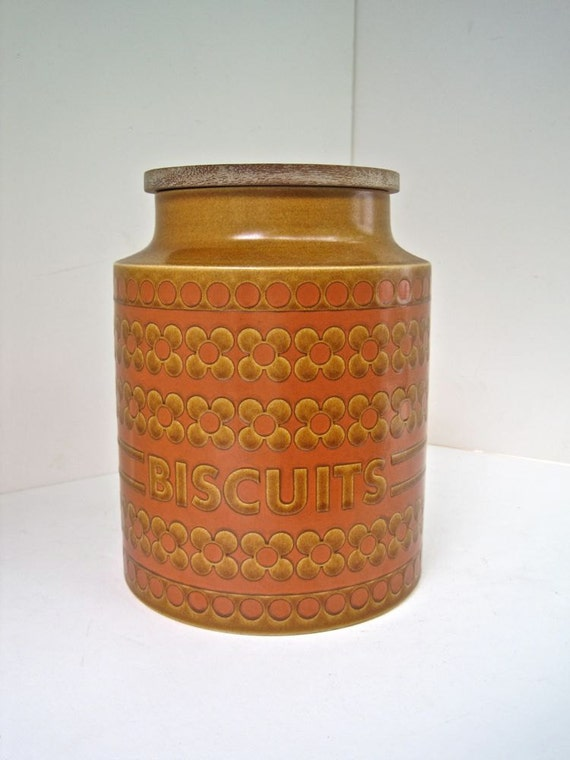 Biscuit Jar - Cookie Container Hornsea Saffron Pattern- Ceramic Canister