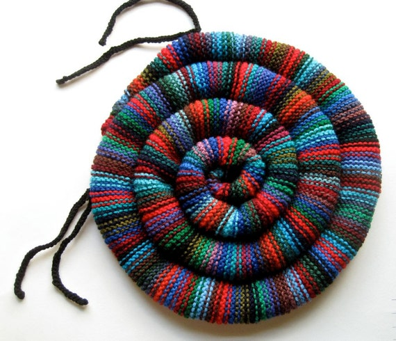 Knitting Pattern For Round Cushion : Round Chair Cushion Hand Knit Seat Rug SMALL