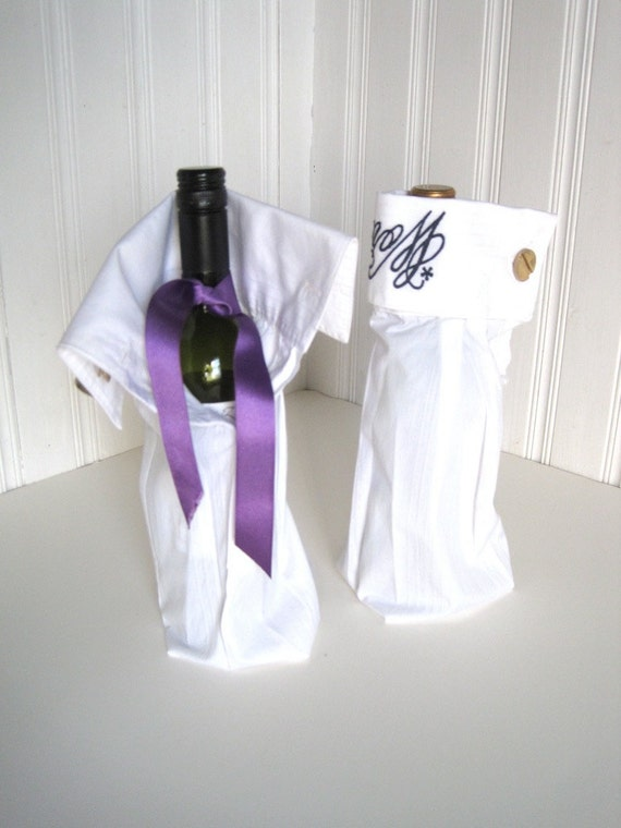 Business Gift Bottle Bag Upcycled Shirt with Cuff Links - World Famous slogan