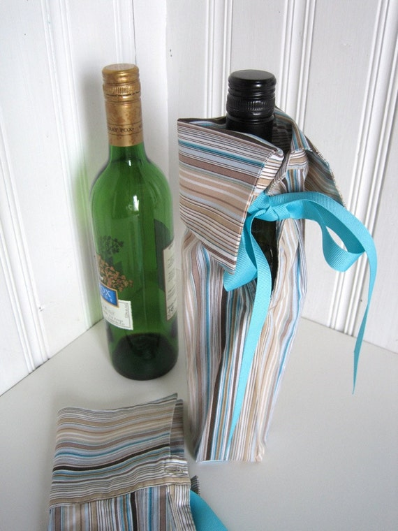 Wine Bottle Gift Bag - Business Gift Bottle Bag Upcycled Shirt - Turquoise Striped Shirt