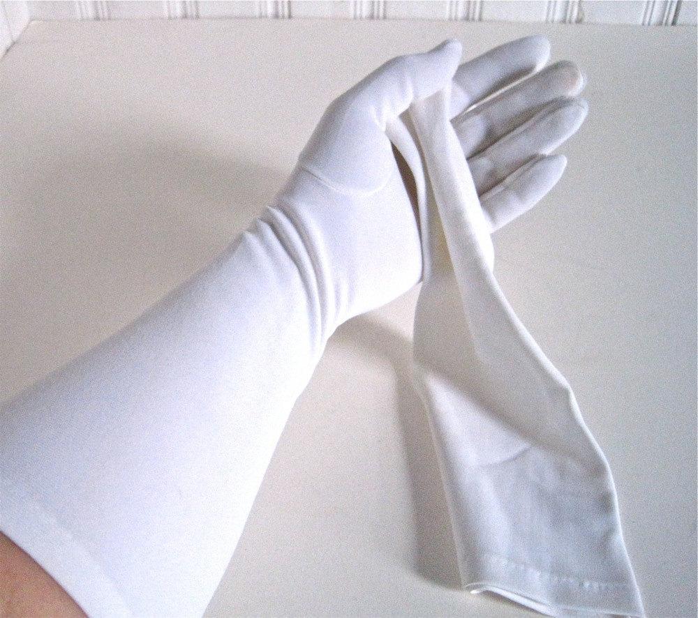 Long White Gloves Size 7 Vintage Nylon Gloves White Gloves
