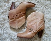 Light Brown Heeled Leather Ankle Boots with Harness - 6 or 6.5