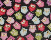 Custom listing for SqueakyBugBabies Multi owls print  cotton fabric 1.75 yards